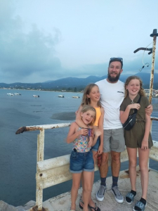 Lee and his family on holiday